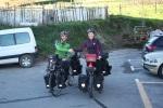 """momento de la salida en Andoain con las bicis cargadas a tope"""""""